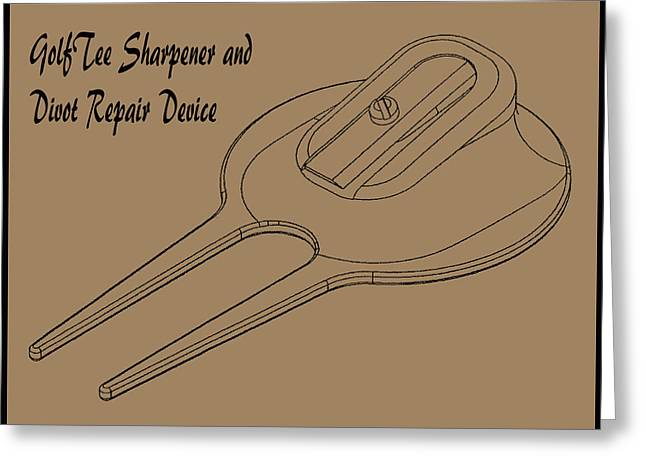 Golf Tee Sharpener And Divot Device Greeting Card
