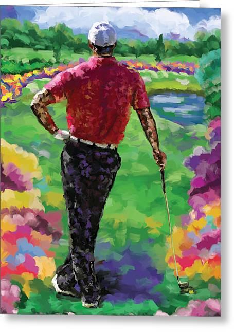 Golfer 1 Greeting Card by Tim Gilliland
