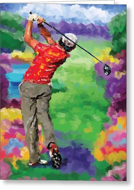 Golfer 2 Greeting Card by Tim Gilliland