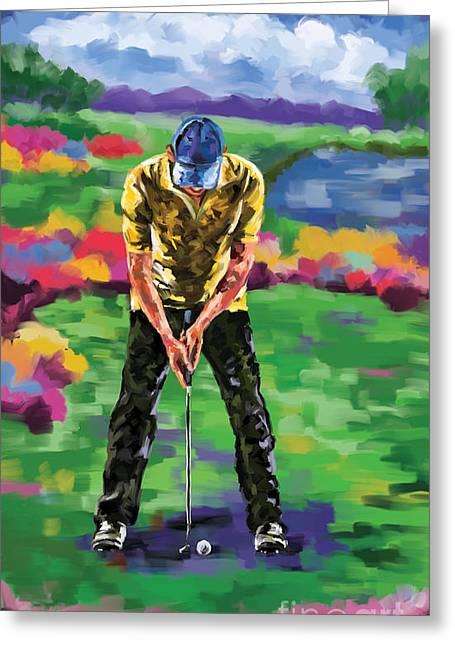 Golfer 4 Greeting Card by Tim Gilliland