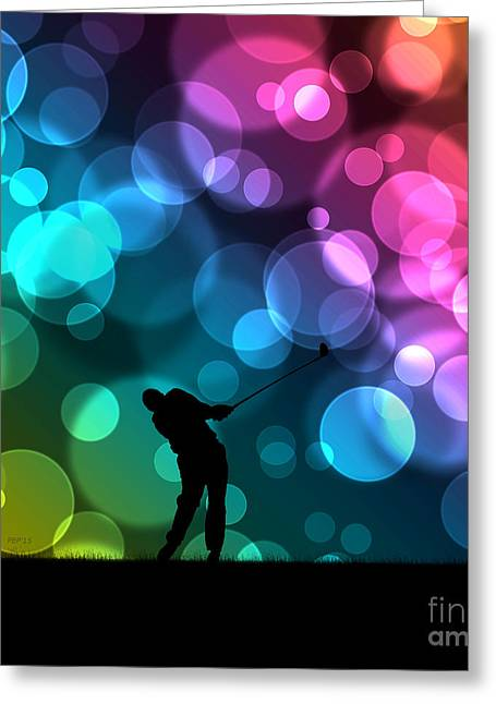 Golfer Driving Bokeh Graphic Greeting Card