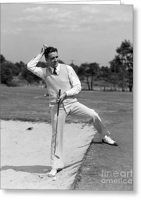 Golfer In Sand Trap, C.1930s Greeting Card