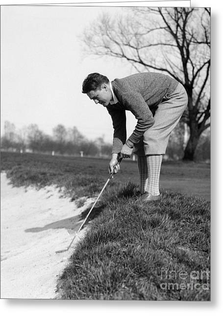 Golfer Playing Ball In Sand Trap Greeting Card by H. Armstrong Roberts/ClassicStock