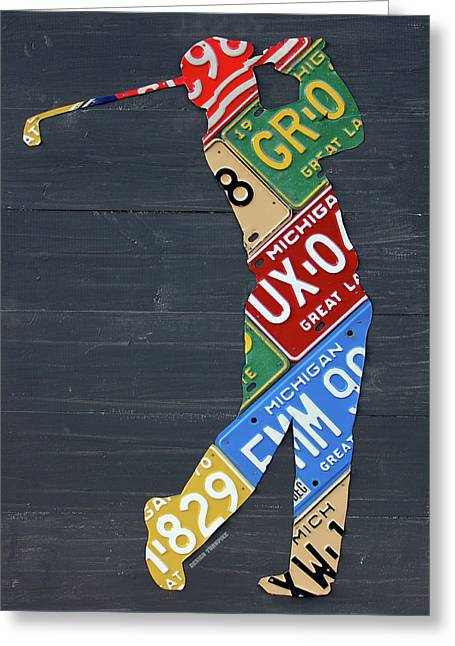 Golfer Silhouette Recycled Vintage Michigan License Plate Art Greeting Card