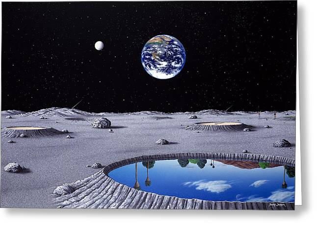 Golfing On The Moon Greeting Card by Snake Jagger