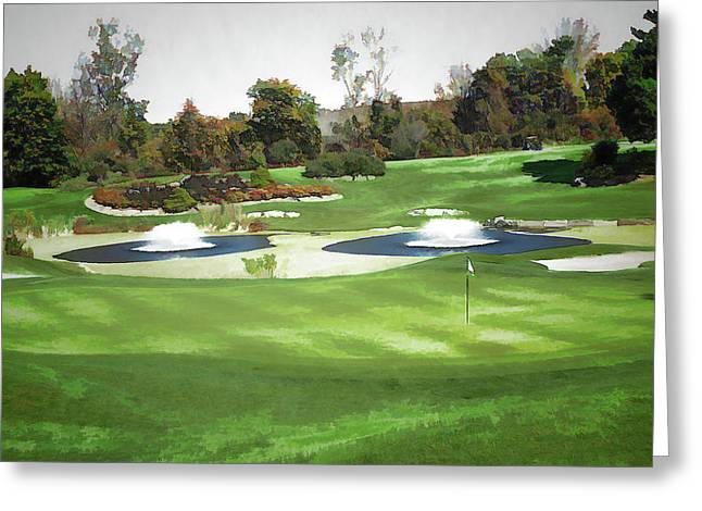 Golfing On The Parkway Greeting Card