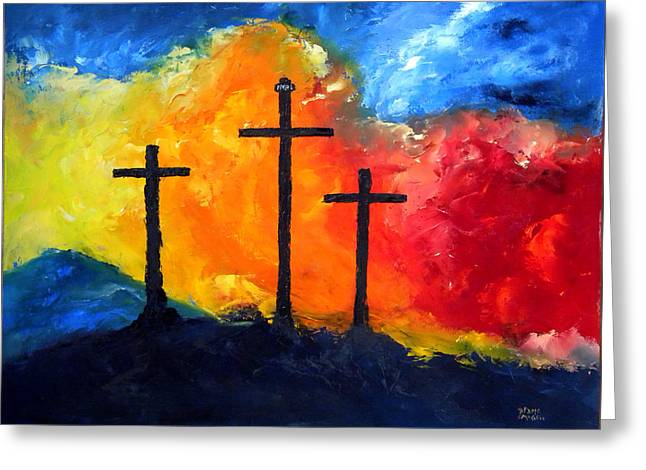 Golgotha Greeting Card by David McGhee