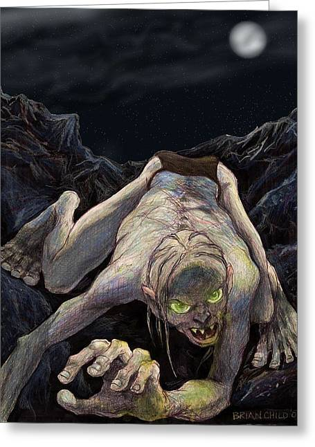 Gollum Descends Greeting Card by Brian Child
