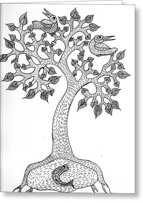 Gond Art  Greeting Card by Namita Jha