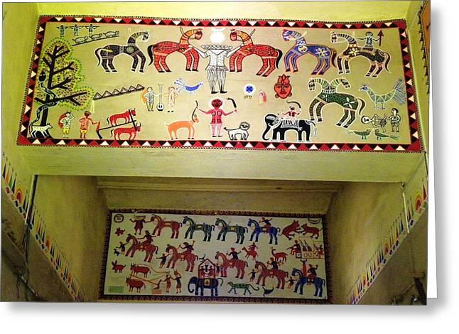 Gond Tribal Art Greeting Card by Rajendra Yadav
