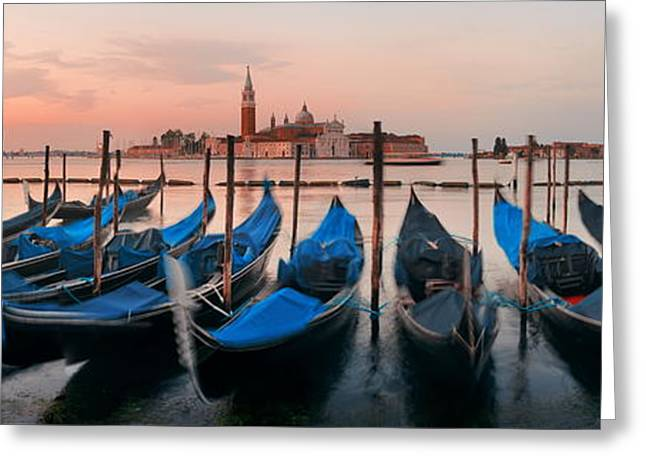 Greeting Card featuring the photograph Gondola And San Giorgio Maggiore Island Panorama by Songquan Deng