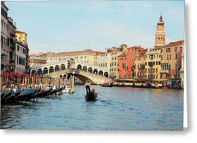 Gondolier Photographs Greeting Cards - Gondola at the Rialto Greeting Card by Paul Cowan