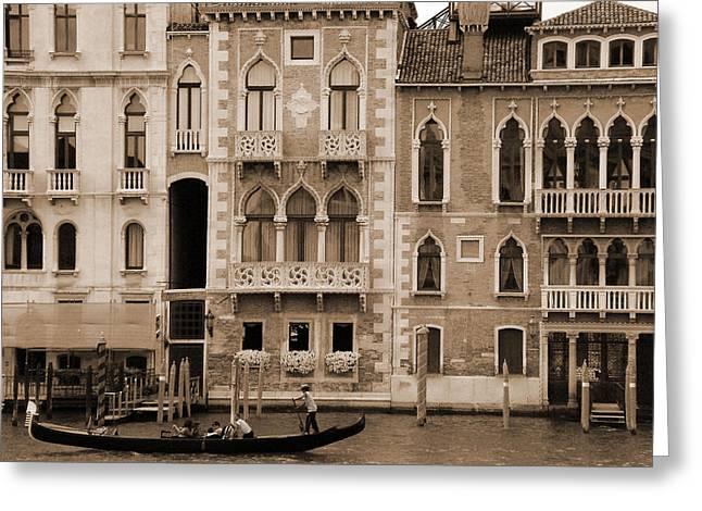 Gondola Crossing Grand Canal Greeting Card