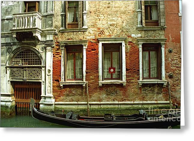 Gondola In Front Of House In Venice Greeting Card by Michael Henderson