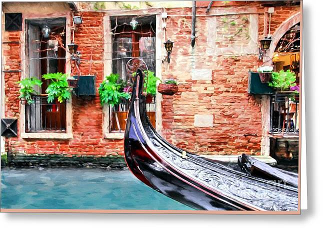 Gondola In Venice Greeting Card by Mel Steinhauer