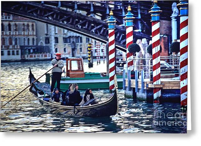 Gondola In Venice On Grand Canal Greeting Card by Michael Henderson