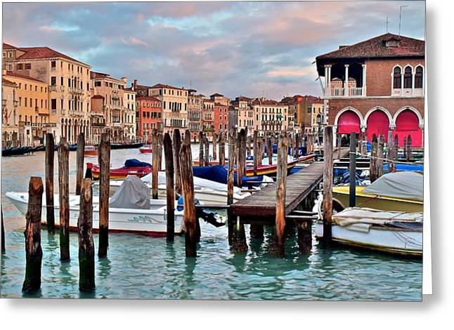 Gondola Mooring Poles Greeting Card by Frozen in Time Fine Art Photography