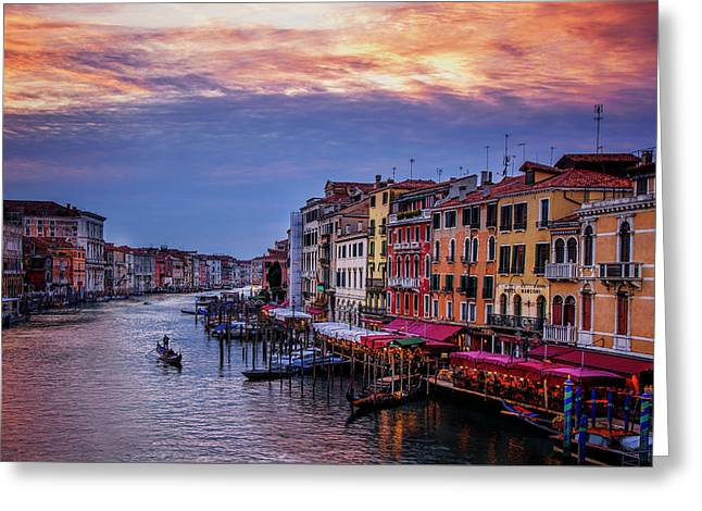 Gondola On The Grand Canal Greeting Card by Andrew Soundarajan