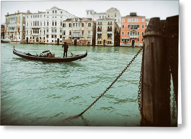 Gondola Ride On A Wet Day Greeting Card by Paul Bucknall