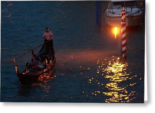 Gondola Ride On Grand Canal At Night Greeting Card by Michael Henderson