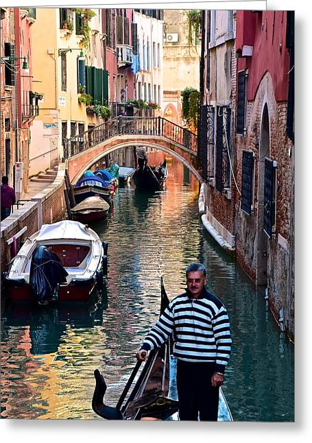 Gondola Ride Through Venice Greeting Card by Frozen in Time Fine Art Photography
