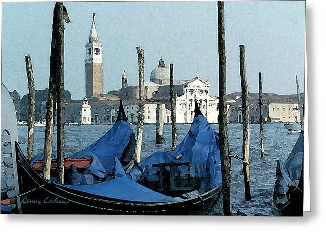 Greeting Card featuring the digital art Gondolas Across San Giorgio by Donna Corless
