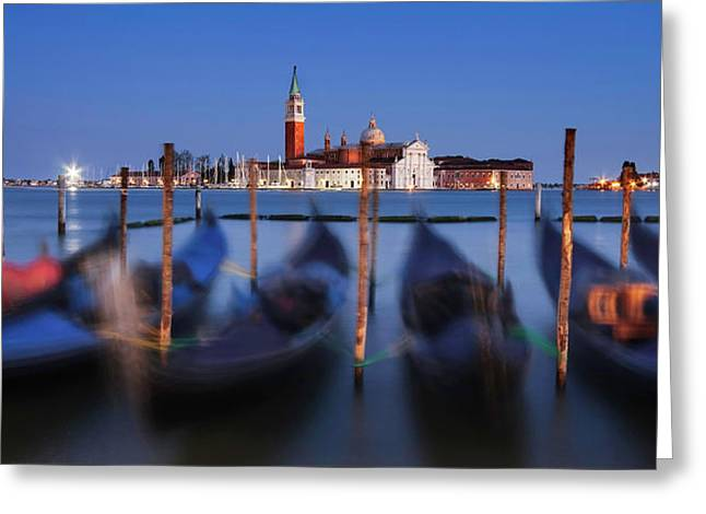 Gondolas And San Giorgio Maggiore At Night - Venice Greeting Card