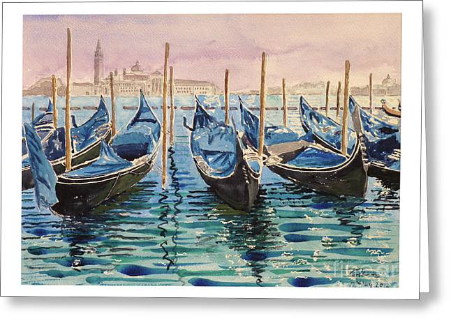 Gondolas At The Pier Venice Greeting Card