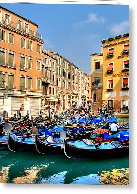 Gondolas In The Square Greeting Card by Peter Tellone