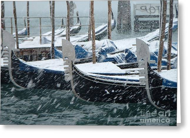 Gondolas In Venice During Snow Storm Greeting Card by Michael Henderson