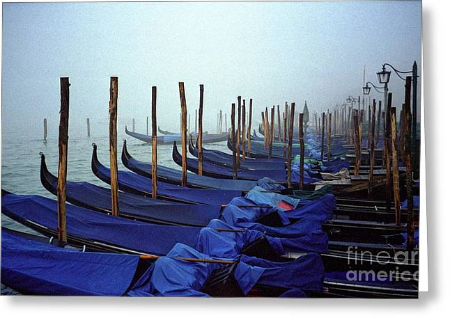 Gondolas In Venice In The Morning Greeting Card by Michael Henderson