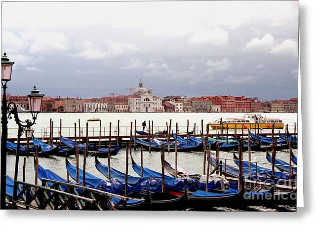 Gondolas In Venice Greeting Card by Michael Henderson