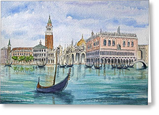 Gondolas Near Piazza San Marco In Venice Italy Greeting Card by Bonnie Sue Schwartz