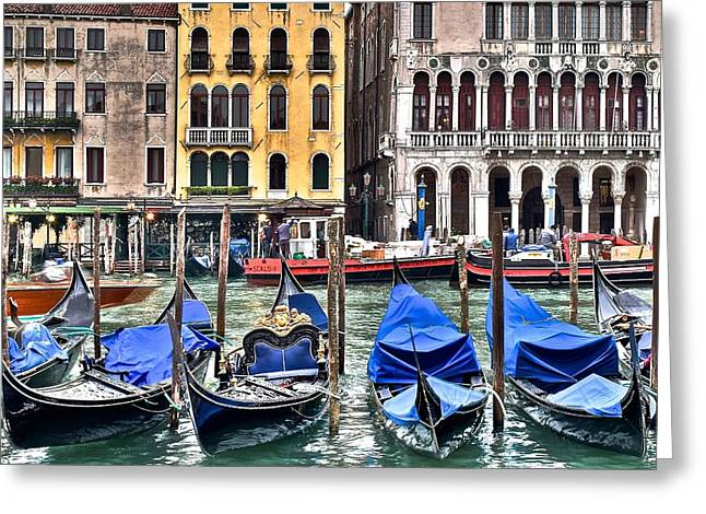 Gondolas On The Grand Canal Greeting Card by Frozen in Time Fine Art Photography
