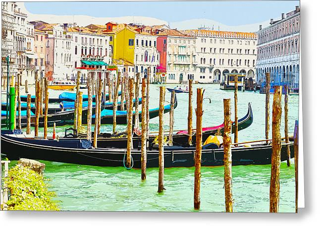 Gondolas On The Grand Canal Venice Italy Greeting Card