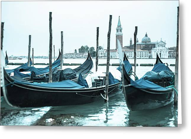 Gondolas On The Venice Lagoon Greeting Card