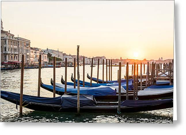 Gondolas Sunrise 00323 Greeting Card by Marco Missiaja