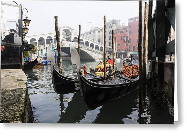 Gondole A Rialto 6948 Greeting Card by Marco Missiaja