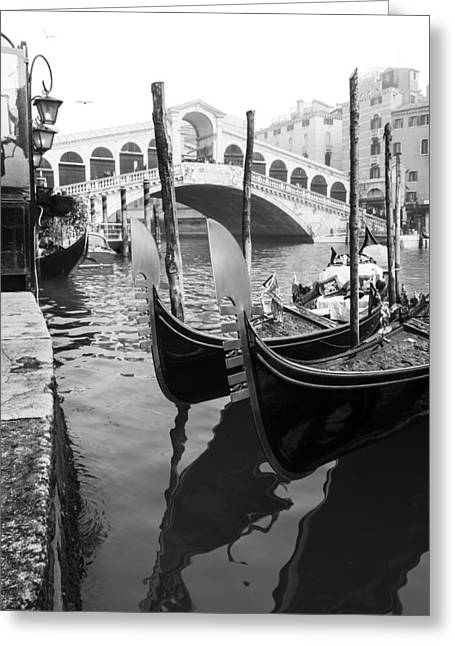 Gondole At Rialto Bridge Greeting Card by Marco Missiaja