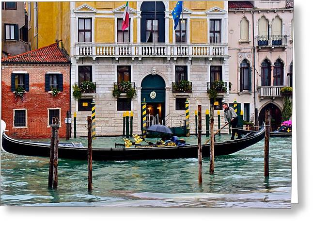 Gondolier At Work Greeting Card by Frozen in Time Fine Art Photography