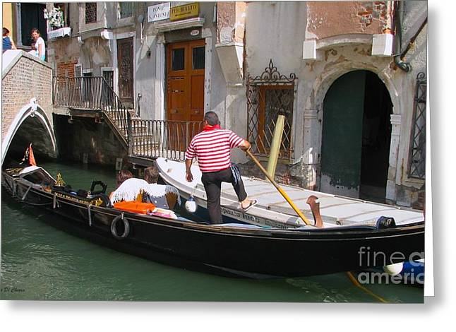 Gondolier By The Bridge- Venice Greeting Card
