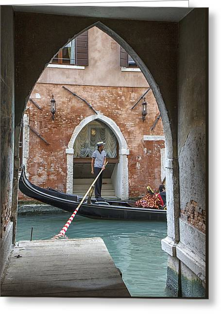 Gondolier In Frame Venice Italy Greeting Card