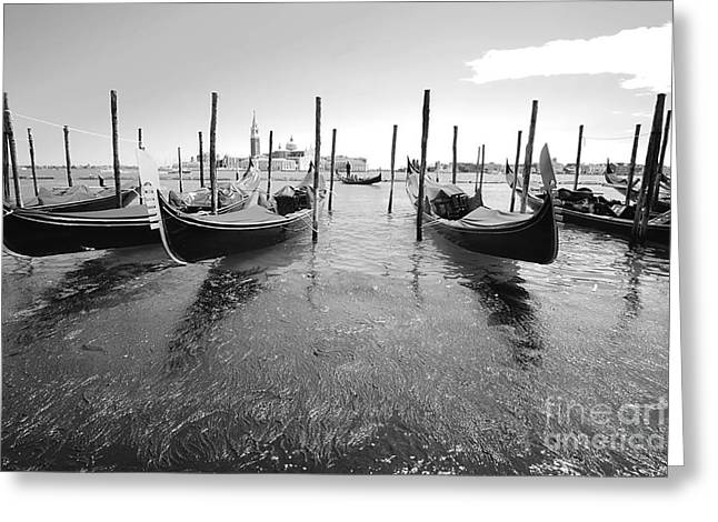 Gondolier In The Distance Greeting Card by Floyd Menezes