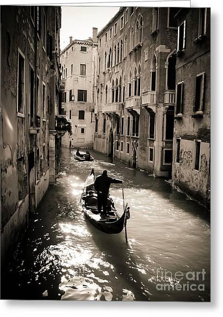 Gondolier. Venice. Italy Greeting Card by Bernard Jaubert