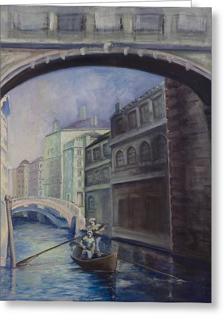 Gondoliers Greeting Card by Victoria  Shea