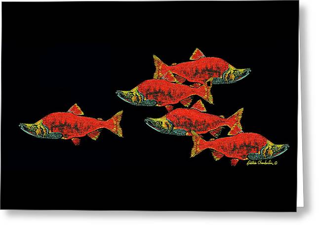 Gone Fishing Greeting Card by Debbie Chamberlin