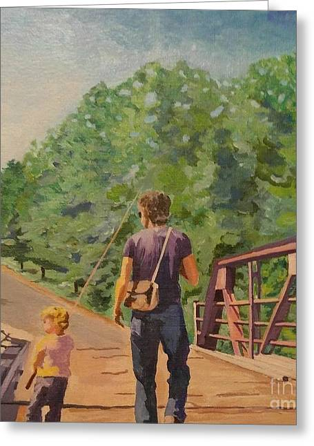 Gone Fishing With Dad Greeting Card