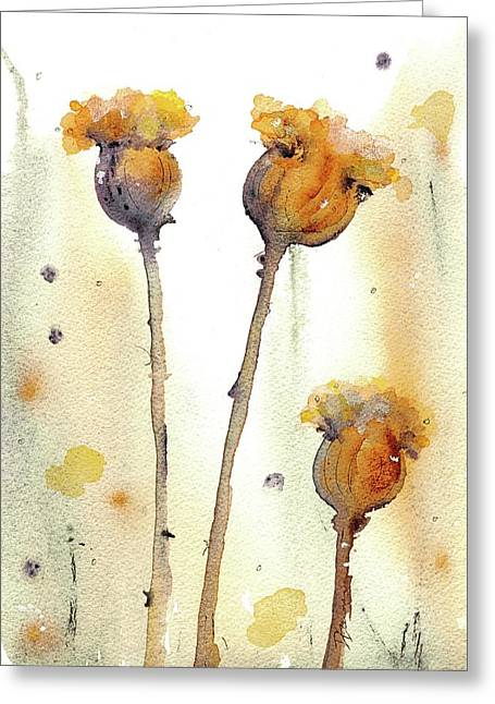 Greeting Card featuring the painting Gone To Seed by Dawn Derman