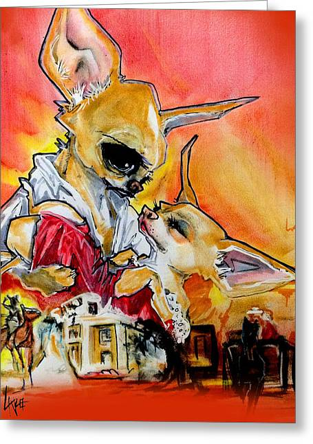 Gone With The Wind Chihuahuas Caricature Art Print Greeting Card