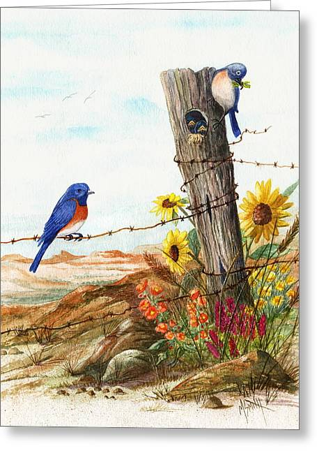 Gonna Find Me A Bluebird Greeting Card by Marilyn Smith